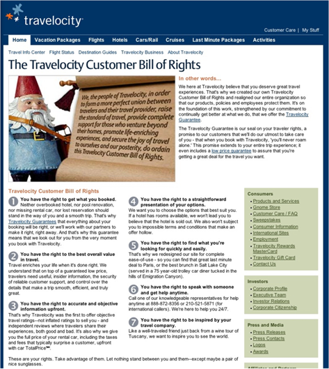 Travelocity Bill of Rights