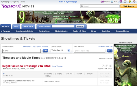 Appropriate ads on Yahoo! Movies