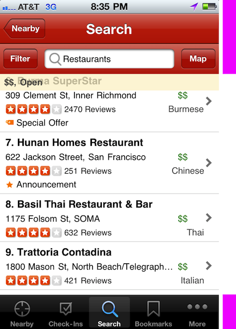 Yelp's inefficient use of screen real estate in their iPhone app