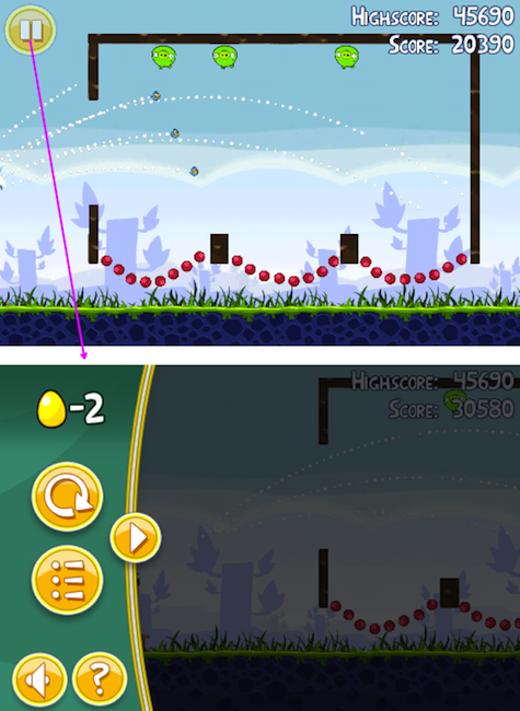 Angry Birds iPhone game screens