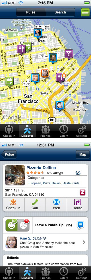 Local search results in Loopt iPhone app