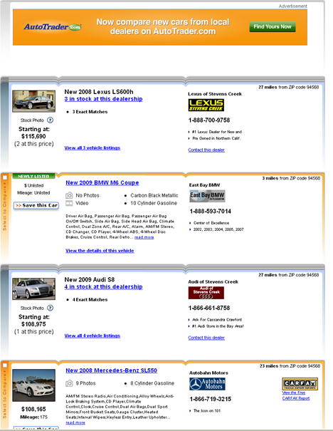 Many types of results on AutoTrader