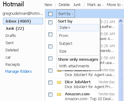 Hotmail combine sorting and filtering