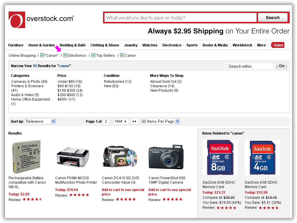 Overstock set-remove-set implemented via checkboxes