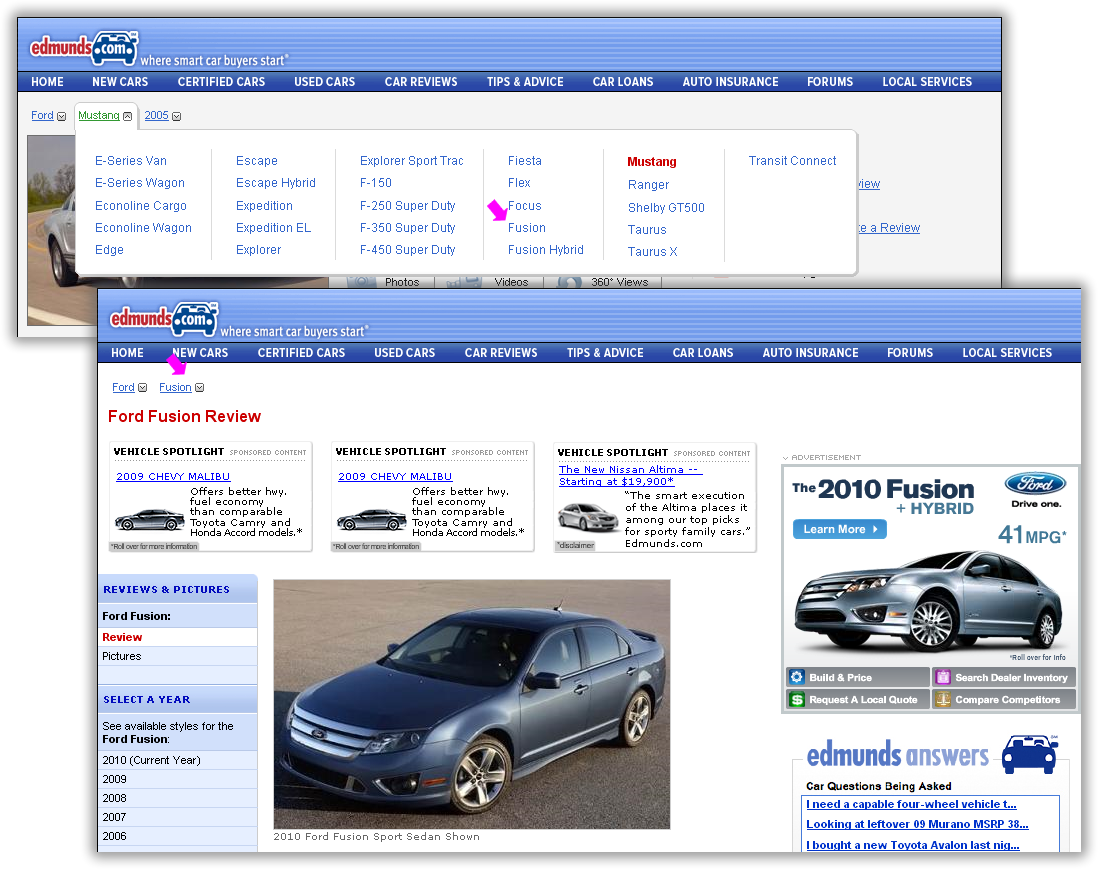 Changing aspect values drops useful query information on Edmunds.com