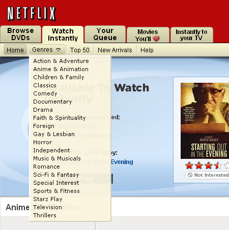 Netflix combines sorting and filtering