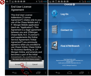 Figure 1: EULA Antipattern In Chase App.